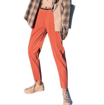 韩版裤子宽松九分高腰显瘦直筒女奶奶休闲裤坠感阔腿裤百褶萝卜裤