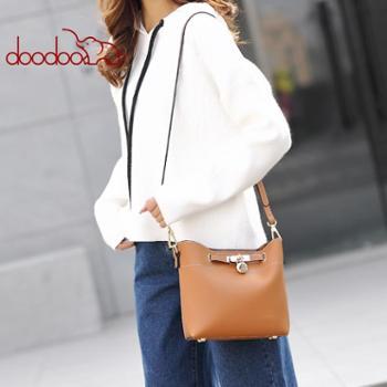 doodoo小包包女新款时尚个性宽肩带水桶包女韩版少女百搭女包潮D8000