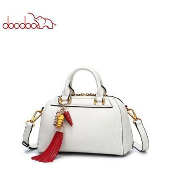 doodoo韩版流苏波士顿包时尚单肩斜挎手提包女包D8010
