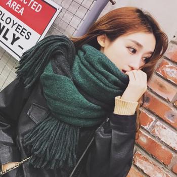 韩版冬季长款围巾女学生两用百搭双面加厚大披肩保暖针织毛线围脖WM61