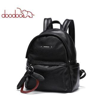 doodoo双肩包女韩版新款潮女士休闲百搭包包软皮简约旅行背包女D8775