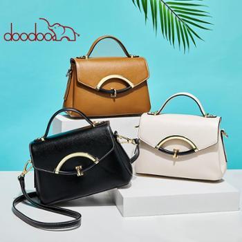 doodoo包包女新款潮时尚手提包韩版简约斜挎包个性锁扣凯莉包D8665