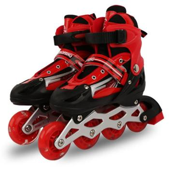侨丰PU旱冰鞋成人全闪光直排轮滑鞋儿童溜冰鞋