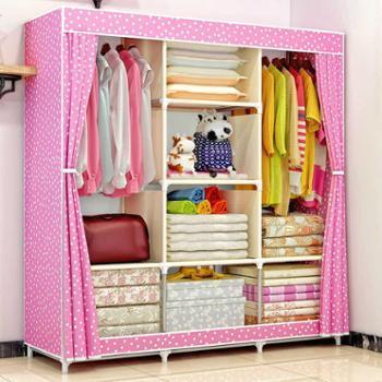 索尔诺布衣柜 钢架加固加厚 简易衣柜加粗钢管防尘大号收纳布衣橱