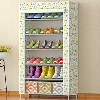 索尔诺鞋柜大容量6层简易鞋柜防尘鞋架收纳柜布鞋柜包邮