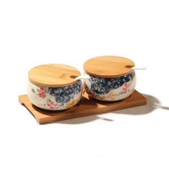 【两个装】日式陶瓷调味罐套装家用创意厨房用品用具小百货油盐罐子调料盒