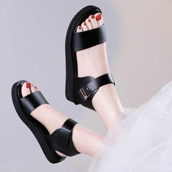 凉鞋女夏平底2018新款韩版百搭学生2017夏季简约黑色平跟罗马鞋子