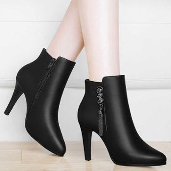 高跟鞋女冬细跟冬季尖头短靴新款百搭马丁靴子女鞋子加绒8771