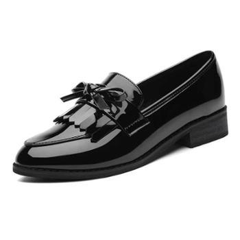 原宿小皮鞋女复古学院风黑色皮鞋子女新款真皮英伦中跟6002
