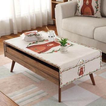 缤谷 棉麻布艺桌布茶几布小清新长方形客厅家用台布电视柜多功能盖布 时尚字母