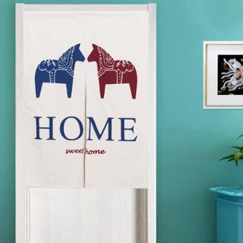 棉麻布艺门帘隔断帘风水帘卧室客厅装饰帘卫生间半帘送杆子