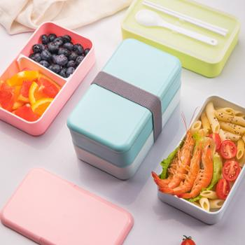 星橙日式长方形双层绑带塑料饭盒成人饭盒大容量午餐盒保鲜盒可微波
