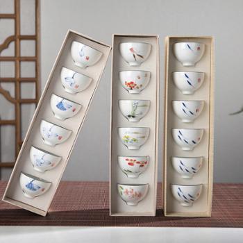 景德镇高档手绘小茶杯鱼杯功夫陶瓷主人单杯个人茶具茶盏普洱品茗
