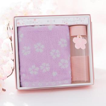 初爱樱花系列一条纯棉毛巾水杯礼盒套装 柔软吸水耐用儿童成人全棉毛巾