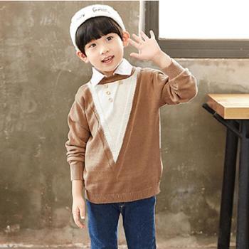 百旅Bailv秋款男童假两件毛衣针织衫