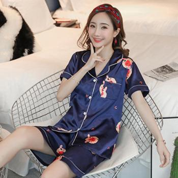 百旅Bailv卡通睡衣女夏季薄款冰丝绸甜美透气少女两件套装日系短袖家居服