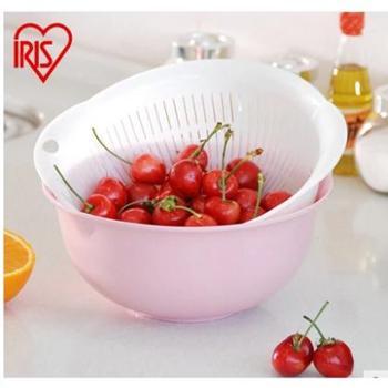 爱丽思IRIS 厨房可悬挂水果篮洗菜盆 ZB 双层滤水筛 马卡龙色