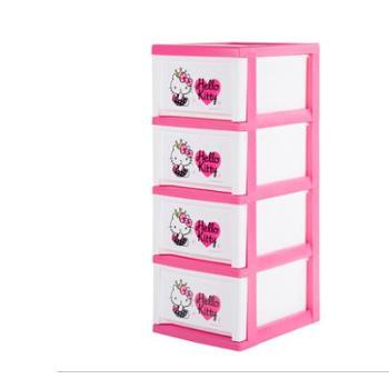 爱丽思IRIS Kitty4层抽屉式塑料窄行收纳柜儿童衣物玩具柜整理柜