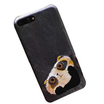 你米手机壳iphoneX78plus新款NIMMY刺绣手机壳苹果X78P10大眼萌宠猫保护套女