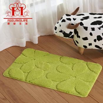 感受生活家居家用纯色绿色花朵浴室吸水防滑地垫进门脚垫地毯工厂