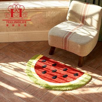感受生活家居卡通可爱西瓜超细纤维浴室防滑地垫进门脚垫手工地毯