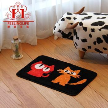 感受生活卡通黑猫浴室卫生间防滑地垫脚垫进门垫手工地毯工厂