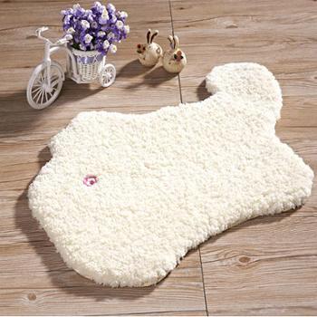 感受生活家居卡通动物超细纤维涤纶浴室防滑地垫脚垫手工地毯