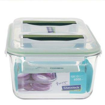 Glasslock韩国进口钢化玻璃手提保鲜盒MHRB600/6L