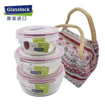 Glasslock 韩国进口钢化玻璃饭盒圆形3件套-