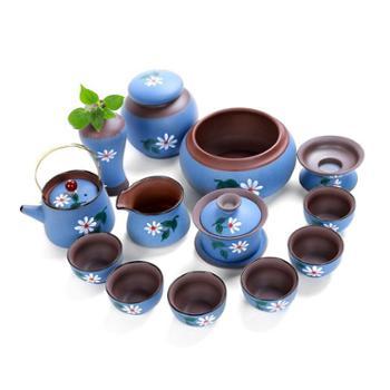 深蓝大套整套粗陶茶具套装日式陶瓷功夫茶具大套装茶壶茶叶罐礼品