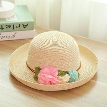 夏季新款韩版情侣款时尚装饰大花卷边遮阳帽休闲百搭户外草帽潮帽子