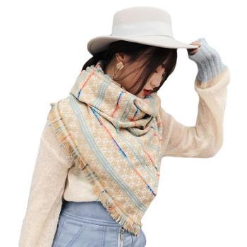 韩版秋冬季新款仿羊绒围巾女两用大披肩彩条格子加长针织保暖围脖