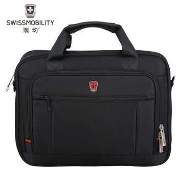 瑞动(SWISSMOBILITY)斜跨电脑公文包MT-5700商务时尚休闲系列14.1英寸黑色