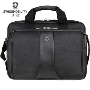 瑞动SWISSMOBILITYMT-5780斜跨电脑公文包手提电脑包黑色14寸
