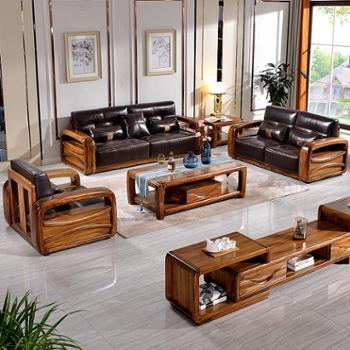 新中式大户型头层牛皮乌金木家具客厅全实木真皮沙发组合现代简约