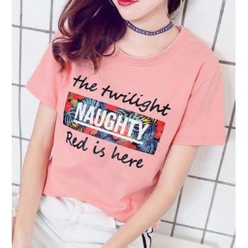 短袖女2018新款夏装韩版纯棉t恤女学生体恤宽松百搭半袖上衣服潮