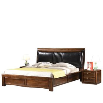 全实木床1.8米双人床现代中式厚重款高箱储物床黑胡桃木卧室家具