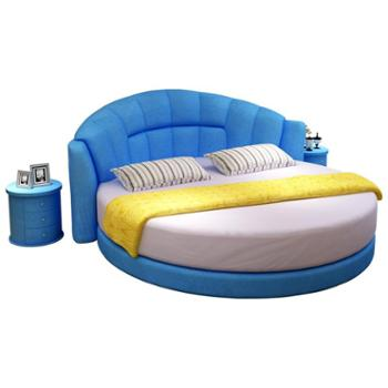 圆床双人床可拆洗现代简约主题酒店圆形小户型婚床公主木布艺床