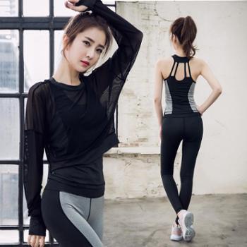 派衣阁健身运动套装聚拢美背背心长袖罩衫撞色瑜伽裤三件套女T1025