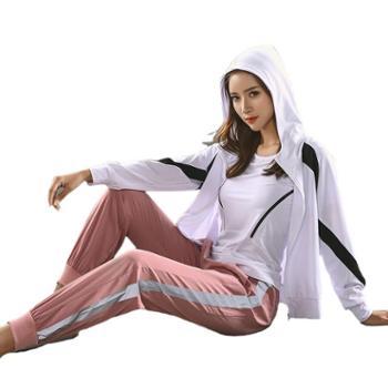 派衣阁瑜伽套装四件套女健身服吸汗速干户外运动健身T1080