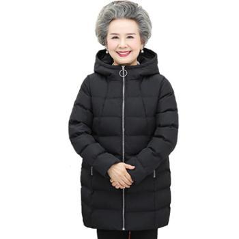 茧竹森中老年人羽绒服女2018秋冬新款60-70岁奶奶装加厚保暖外套JLS863