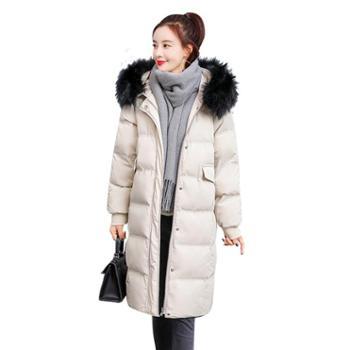 沫沫依莉棉衣女冬装新款加厚中长款修身时尚百搭大毛领纯色保暖棉服外套YJZY869