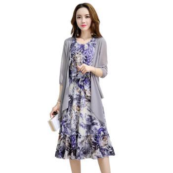 沫沫依莉印花雪纺长袖连衣裙套装韩版时尚显瘦两件套套装裙XXLA801