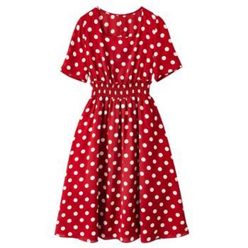 沫沫依莉 2019新款流行夏天红色波点连衣裙女很仙的红色a字法国过膝连衣裙 8403-1637