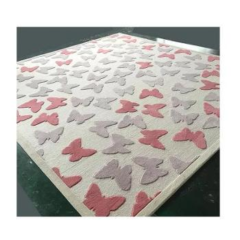 卡通粉色女孩房地毯羊毛可爱蝴蝶图案地毯儿童房书房环保无异味 O2O活动商品,线上拍下不发货