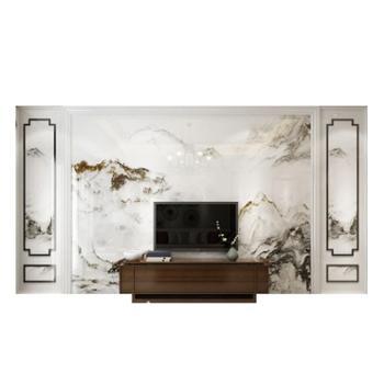 新中式电视背景墙瓷砖画简约大客厅3d微晶石背景墙砖
