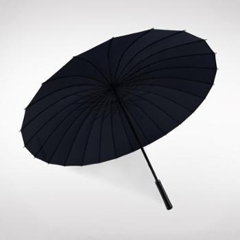 多盈雨伞创意24直杆超大长柄晴雨伞纯色男士商务雨伞