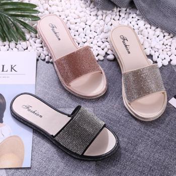 海斯肯时尚亮片舒适平底沙滩一字凉拖鞋防滑室内室外耐磨塑胶鞋