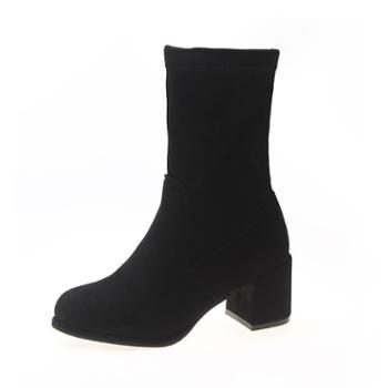 卡恋鹭新款秋季粗跟中跟学生韩版百搭中筒瘦瘦靴袜靴潮