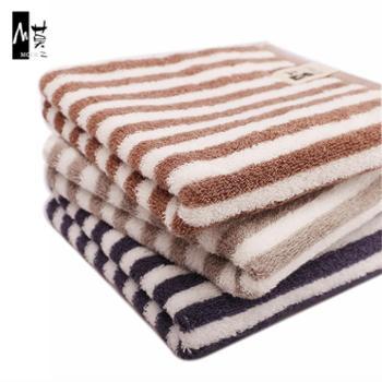 莫二毛巾纯棉家居生活加厚条纹洗脸吸水长绒棉1条装74cm*34cm
